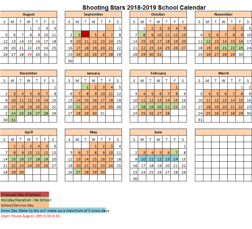 The Shooting Stars Program School Calendar